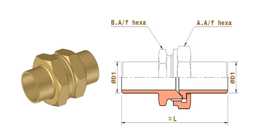 copper nickel butt weld end union connectors